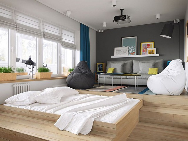 Giải pháp nâng cao sàn cũng giúp cất giấu giường ngủ mà gia chủ không cần sử dụng vào ban ngày.