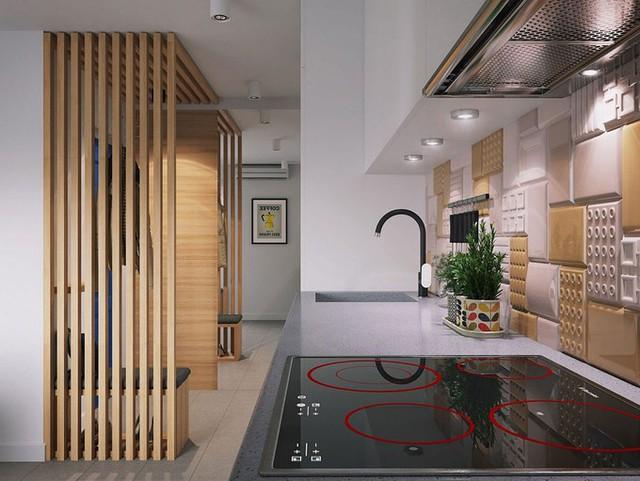 Gạch ốp cách điệu với tông màu vàng-trắng hài hòa với không gian chung.