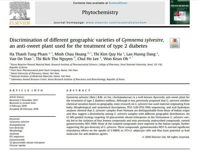 Tạp chí Phytochemistry - tạp chí nổi tiếng thế giới – tạp chí chính thức của Hiệp hội Thực vật Hóa học Châu Âu và Hiệp hội Thực vật Hóa học Bắc Mỹ