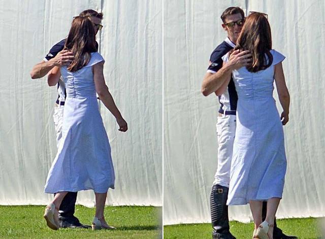 Công nương Anh ôm và hôn má một người bạn lâu năm của chồng, cũng là người chơi cùng đội với William trong trận đấu polo hôm 10/6. Ảnh: Richard Simpson.