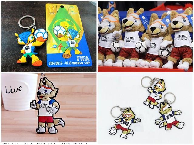 Các sản phẩm in hình linh vật chú sói Zabivaka – linh vật của World Cup 2018 được khá nhiều người tìm mua.