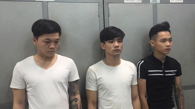 Ba thanh niên liên quan vụ việc tại cơ quan điều tra. Ảnh: Công an cung cấp.