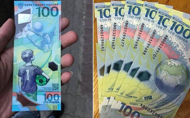 Tờ 100 Rúp lưu niệm World Cup 2018 đang gây sốt thị trường, khi được các tiểu thương rao bán với mức giá 400.000 – 500.000 đồng/tờ, gấp 10-12 lần giá trị tờ tiền.