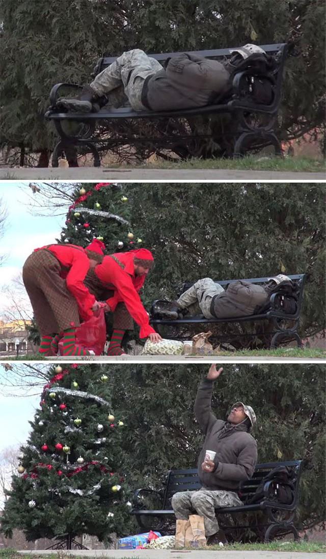 Những ông già Noel mang đến món quà Giáng sinh ý nghĩa cho người vô gia cư.