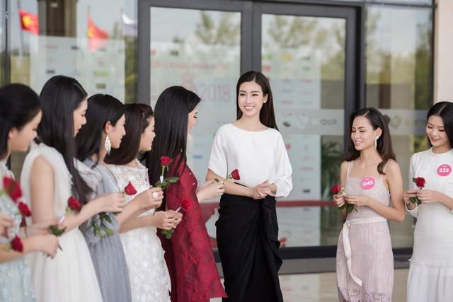 Các thí sinh được trao cho những bông hồng