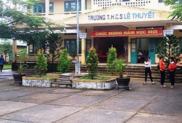 Trường THCS Lê Thuyết, nơi xảy ra vụ việc giáo viên bị xâm hại.