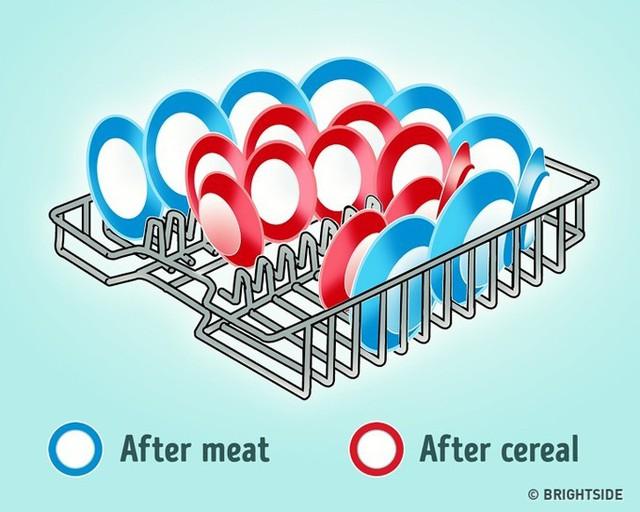 Ở Việt Nam, máy rửa bát không quá thông dụng nhưng ở các nước phương Tây, thiết bị này rất quen thuộc trong các nhà bếp. Khi xếp đĩa vào máy, người ta thường không để ý đến thứ tự và vị trí xếp đĩa. Bạn nên đặt các đĩa theo đường vòng cung, và hướng lòng đĩa vào bên trong vì đây là hướng di chuyển của nước. Bên cạnh đó, bạn nên đặt các đĩa đựng thực phẩm ngũ cốc, mì ống ở trung tâm. Các đĩa nên được đặt ở hai bên là đĩa đựng thực phẩm giàu protein như thịt. Với cách phân loại đúng nguyên tắc, bát đĩa sẽ được rửa rất sạch sẽ.