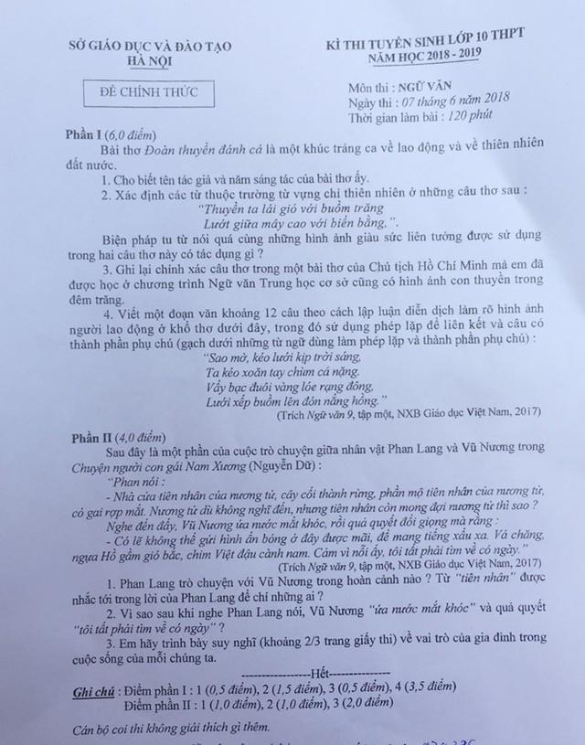 Đề thi Ngữ văn lớp 10 ở Hà Nội sáng 7/6. Ảnh: N.S.