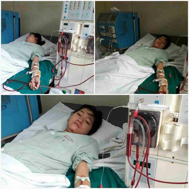 Chị Hiền hiện tại phải lọc máu thường xuyên, sức khỏe rất yếu