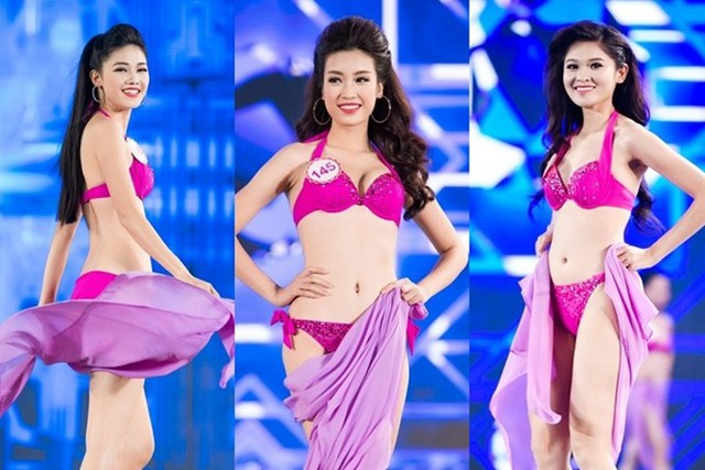 Top 3 Hoa hậu Việt Nam 2016 trình diễn bikini trong chung kết. Từ trái qua: á hậu 1 Thanh Thanh Tú, hoa hậu Đỗ Mỹ Linh, á hậu 2 Thùy Dung.