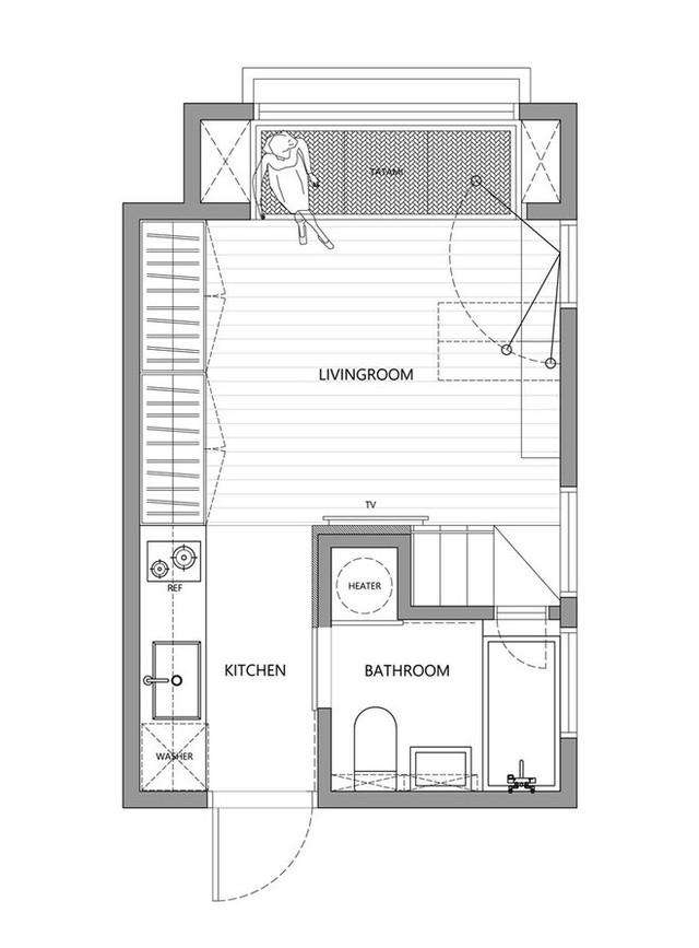 Bản thiết kế toàn bộ căn hộ với diện tích hơn 20m2.