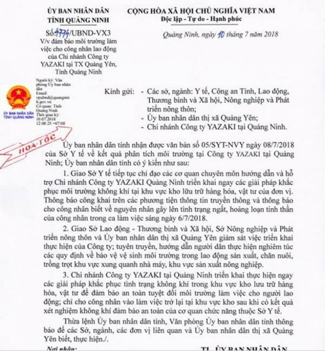 Công văn hỏa tốc của UBND tỉnh Quảng Ninh đảm bảo môi trường làm việc cho công nhân lao động của công ty Yazaki
