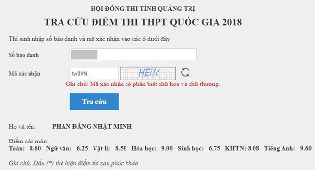 Điểm thi THPT quốc gia của Phan Đăng Nhật Minh