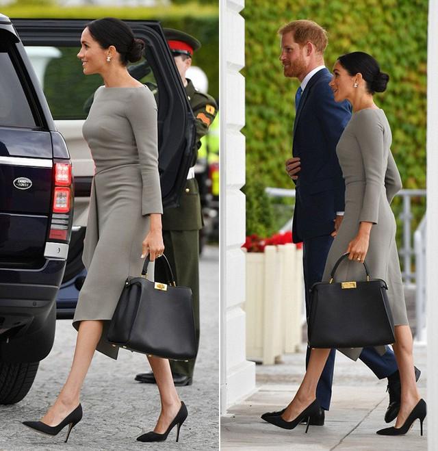 Cựu diễn viên Hollywood thu hút sự chú ý bởi vóc dáng mảnh mai khi diện mẫu váy màu xám nữ tính của nhà thiết kế người Pháp Roland Mouret. Mouret cũng là một người bạn của Meghan. Nữ công tước xứ Sussex búi tóc gọn gàng, xách theo túi xách màu đen và giày cao gót cùng màu. Cô hoàn thiện ngoại hình nổi bật với đôi bông tai kim cương.