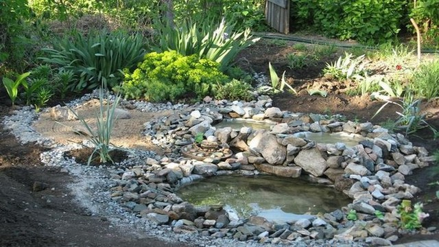 Bạn có thể gắn đá theo bất cứ hình dáng, đặt thêm vài cái cây ở miệng hồ nữa là sẽ tuyệt vời luôn. (Ảnh: Internet)