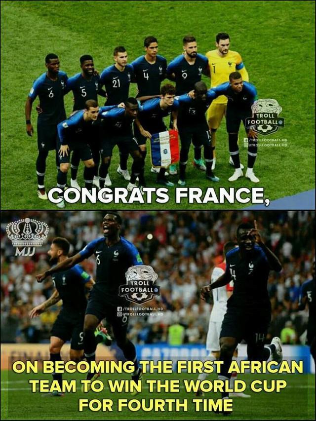 Với sự góp mặt của nhiều cầu thủ da màu, Pháp được dân mạng chúc mừng là đội bóng châu Phi đầu tiên vô địch World Cup. Ảnh: Troll Football.