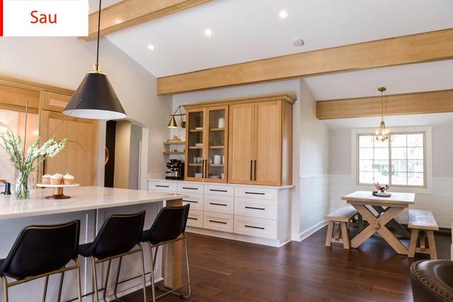 Sự lột xác kinh ngạc khi phòng bếp thành phòng khách với tone màu trắng - gỗ sáng.