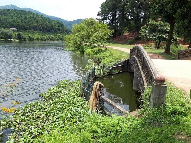 Vị trí nơi phát hiện thi thể đôi nam nữ dưới hồ câu tại Sóc Sơn, Hà Nội. Ảnh: H.Chi