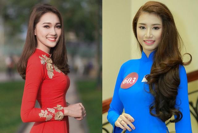 Thí sinh Ngọc Nữ (trái) và Minh Hương đã dừng thi Hoa hậu Việt Nam 2018.     Ảnh: TL