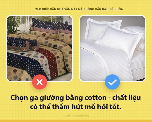 Cotton là chất liệu có thể thấm hút mồ hôi rất tốt, vì thế bạn hãy chọn ga trải giường bằng chất liệu này.