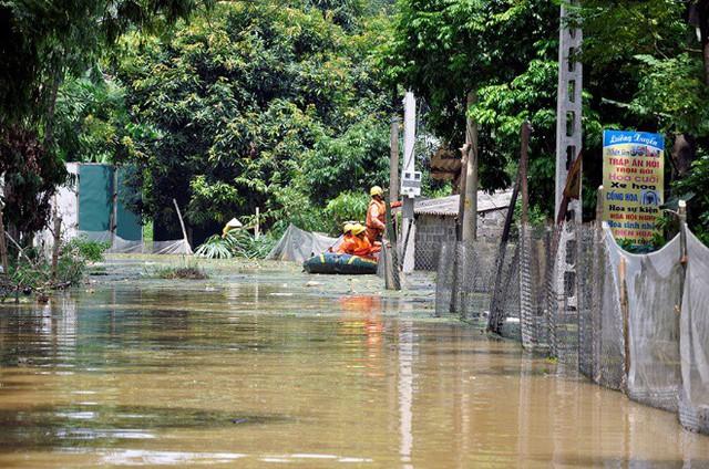 Ngành điện phải điều xuồng đi sửa chữa lưới điện do mưa lớn gây ngập.