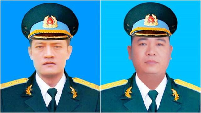 Thượng tá phi công Khuất Mạnh Trí (trái) và Đại tá phi công Phạm Giang Nam.