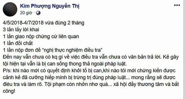 Hình ảnh bài viết mới nhất của Kim Phượng (Ảnh: FBNV).