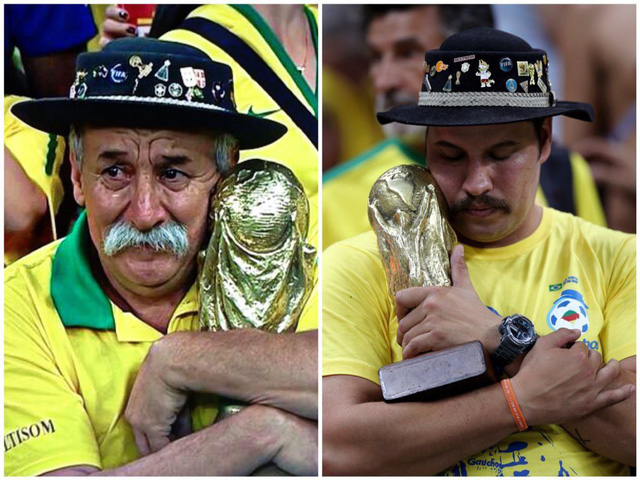 Hình ảnh gây xúc động mạnh trong mùa World Cup 2018. Con trai của ông Clovis cũng không giấu nổi sự thất vọng và ôm chiếc cúp vào lòng giống hệt như cách cha mình đã làm nhiều năm trước.