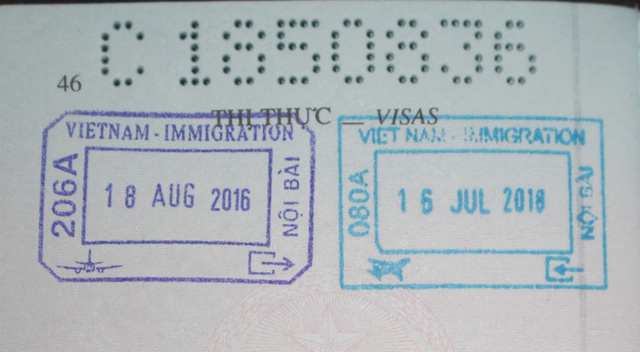 Hộ chiếu của chị H. được Cục quản lý xuất nhập cảnh cấp ghi rõ ngày về nước lần đầu tiên 16/7/2018. Ảnh: Đ.Tùy