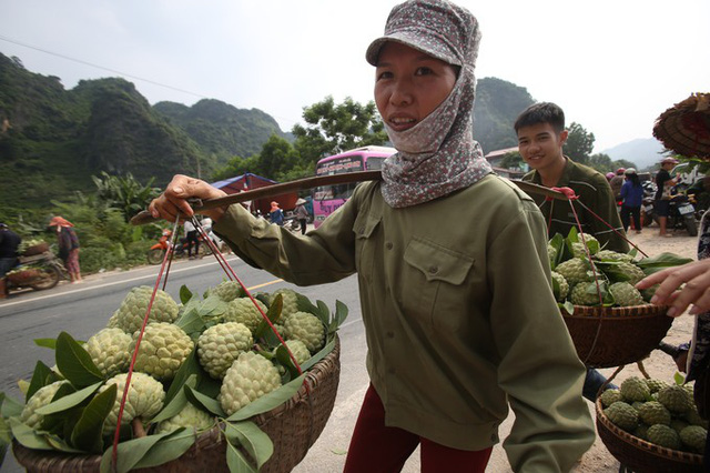 Chợ Na nằm bên cạnh đường quốc lộ 1A khiến lái buôn và người làm nghề tuyển na dễ dàng đón lõng những quả ưng ý. Na được chia thành nhiều loại, theo kích thước khác nhau.