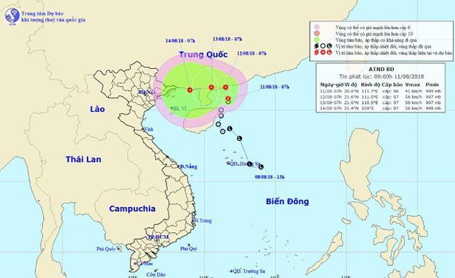 Vị trí và hướng di chuyển tiếp theo của áp thấp nhiệt đới. Ảnh: NCHMF