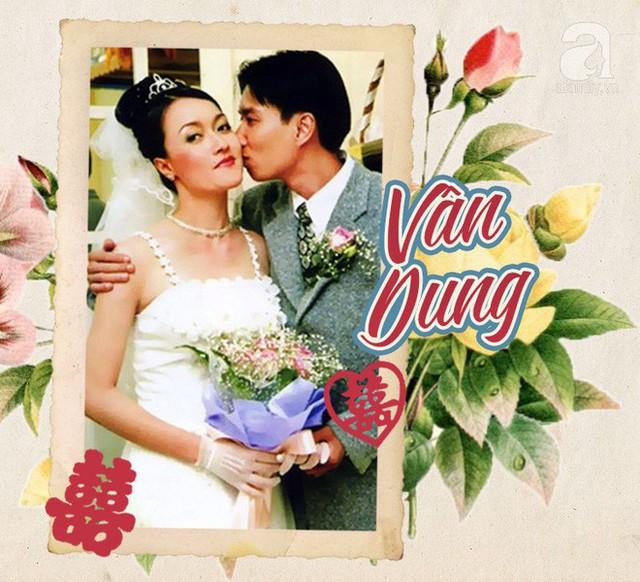 Bức ảnh cưới này cũng là bức hình duy nhất về ông xã của nghệ sĩ hài Vân Dung. Trong sự kiện trọng đại, Vân Dung xinh đẹp và nhẹ nhàng với kiểu váy cưới hai dây là mốt của những năm cuối thập niên 90.