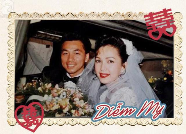 Đám cưới của nữ hoàng ảnh lịch Diễm My diễn ra năm 1994. Vì kết hôn với một doanh nhân Việt kiều nên không khó hiểu khi váy cưới, hoa cưới của Diễm My rất câu kì, xa hoa và hiện đại.