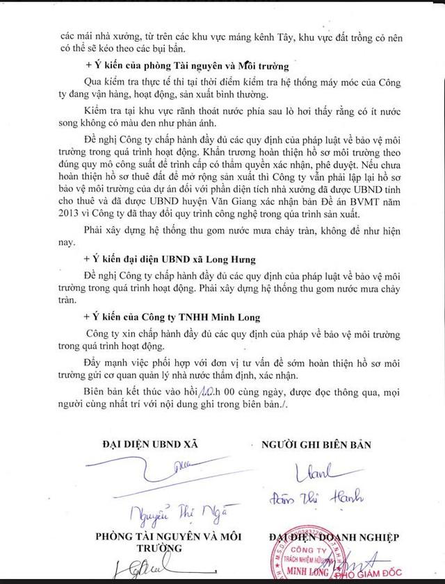 Biên bản kiểm tra của UBND huyện Văn Giang