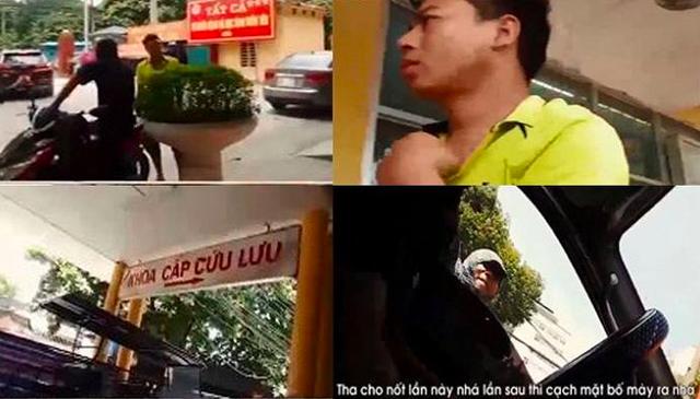 Kẻ côn đồ chửi bới, hành hung lái xe cứu thương tỉnh lẻ. (Ảnh cắt từ clip: VTC )