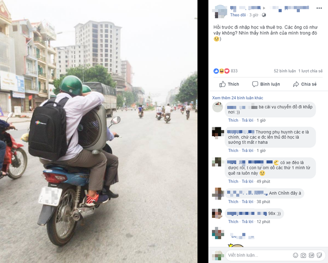 Bức ảnh bố chở con lên Hà Nội nhập học khiến nhiều người bồi hồi xúc động
