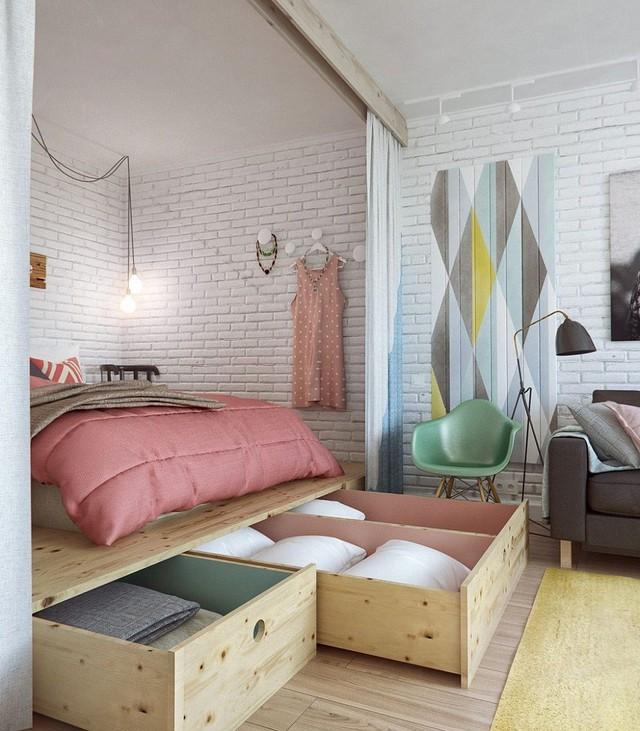 2. Với những chiếc tủ được thiết kế phần dưới như thế này, bạn có thể lưu trữ quần áo, chăn ga gối dùng trong phòng ngủ một cách thoải mái.