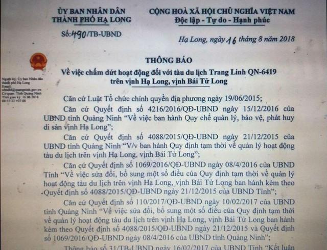 Thông báo về việc chấm dứt hoạt động tàu du lịch Trang Linh QN - 6419 của UBND TP. Hạ Long. Ảnh: Đ,Tùy