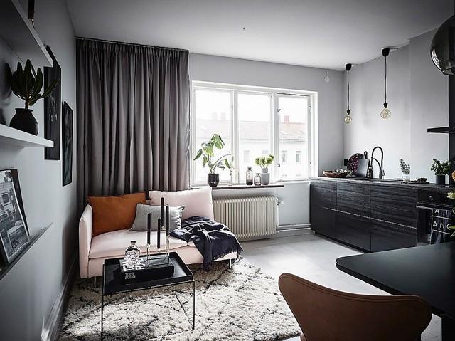 Phòng khách tràn đầy ánh sáng nhờ sắc trắng bao trùm căn hộ và cửa màu xám.