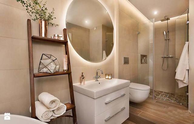 Kiểu đèn led âm sau gương mang đến vẻ đẹp lãng mạn cho không gian nhà tắm.