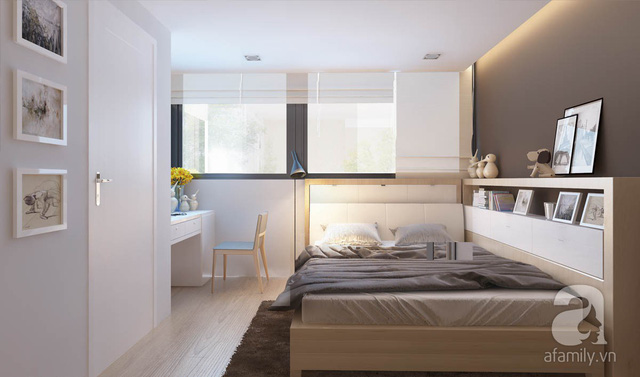 Phòng ngủ với hệ cửa sổ lớn tràn ngập ánh sáng.