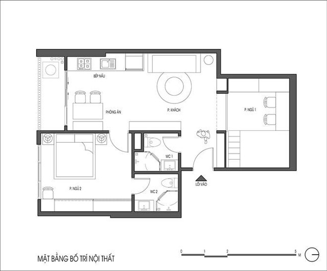 Sơ đồ mặt bằng hiện trạng và bố trí nội thất căn hộ 60m2.