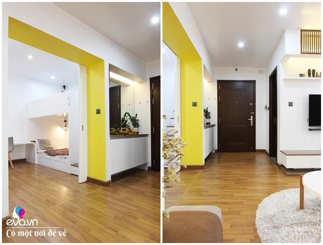Vách ngăn giữa phòng ngủ nhỏ với phòng khách được phá bỏ để tạo cảm giác rộng rãi.