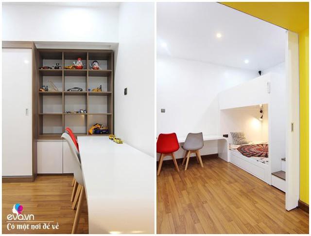 Giường tầng với bậc thang lên xuống được lựa chọn để nhân đôi không gian mà vẫn tiết kiệm diện tích.