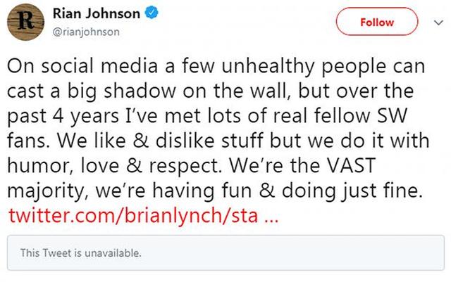 Rian Johnson lên tiếng bảo vệ nữ diễn viên đang bị chỉ trích trên Twitter.