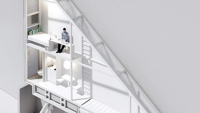 Bên trong có 2 tầng với đủ không gian sống cho một người.
