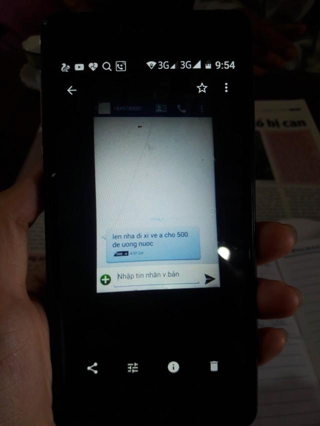 Tin nhắn còn sót lại trong máy điện thoại của cháu H.