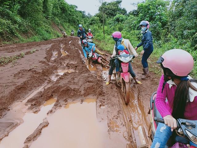 Các giáo viên trường mầm non Hoa Ngọc Lan (huyện Tuy Đức, tỉnh Đắk Nông) đi vận động học sinh tới trường.