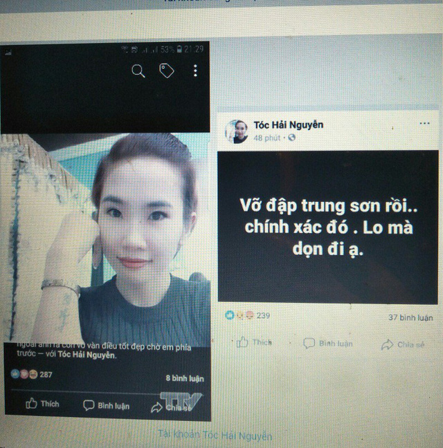 Thông tin trên về vỡ đập thủy điện Trung Sơn của tài khoản Facebook Tóc Hải Nguyễn là không chính xác