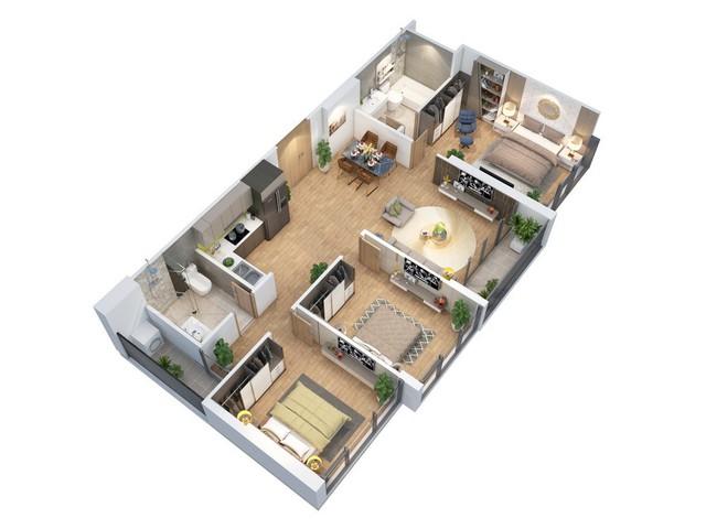 Phối cảnh 3D căn hộ 3 phòng ngủ đẹp lung linh tại dự án Eco-Green Saigon.